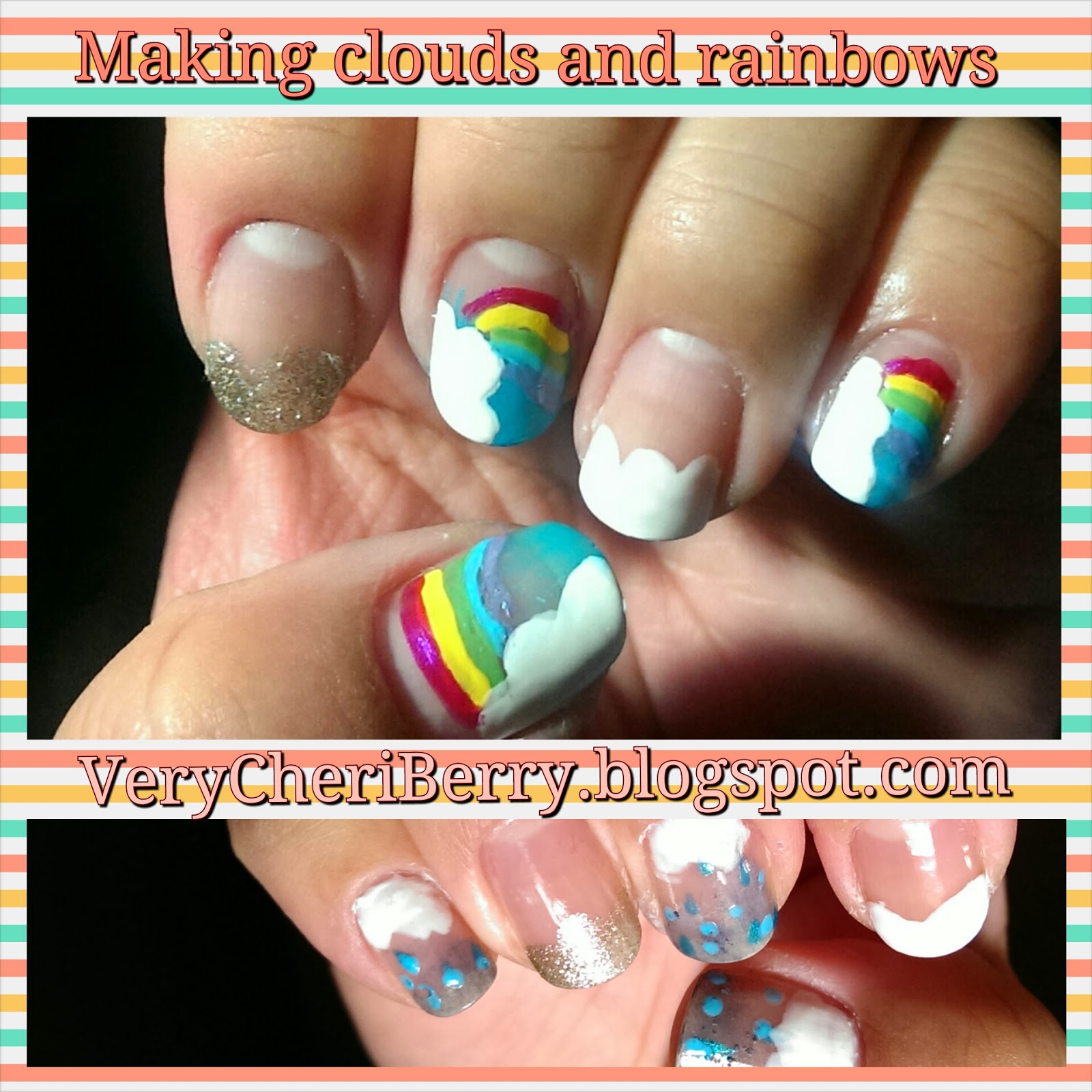 Nail Art My Journey Of Self Expression Clouds Blue Skies And Rainbows