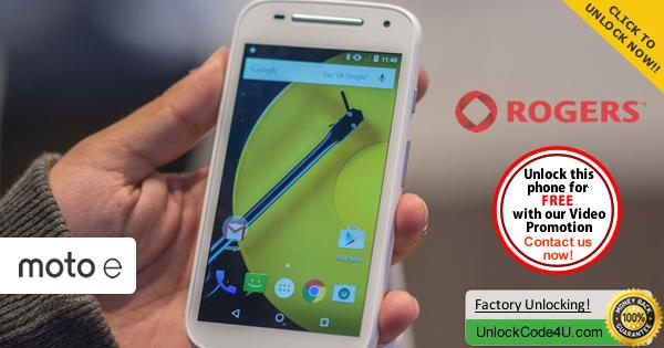 Factory Unlock Code Motorola Moto E 2 generation from Rogers