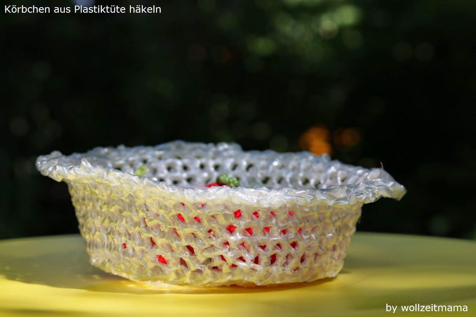 Körbchen aus Plastiktüte häkeln, Anleitung kostenlos