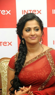 Anushka Shetty in Transparent Red Saree with beautiful Jari Border Launching Intex Movile HQ Exclusive Spicy Pics   Bahubali Actress Anushka Shetty
