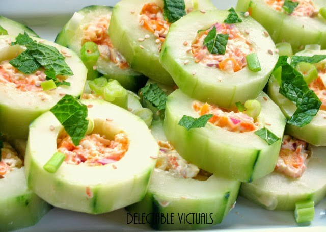 no-cook Stuffed Cucumber Hors d'oeuvres summer appetizer