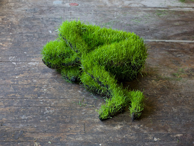 soil, wheat seeds, recycled metal, fabric, amazing, sculpture, mathilde roussel, lives of grass
