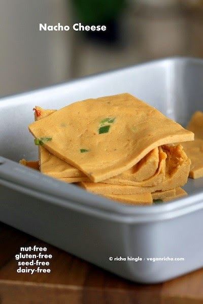 http://www.veganricha.com/2014/09/nut-free-vegan-nacho-cheese-slices.html