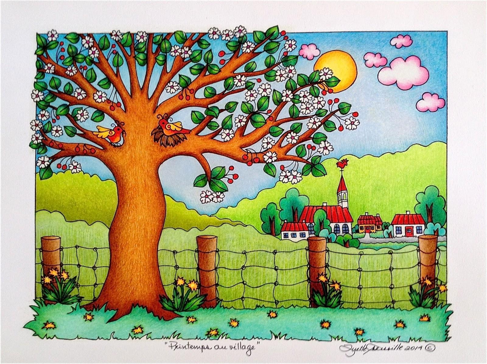 COLORIAGE PAYSAGE EN PRINTEMPS, Galerie Creation - Coloriage Paysage Printemps