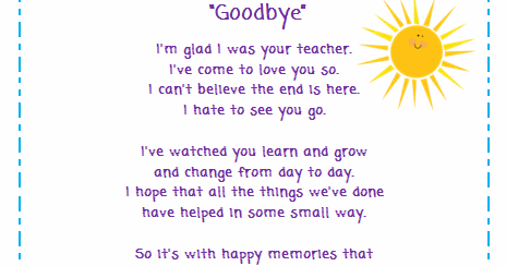 Classroom Freebies Too: Goodbye Poem for Students