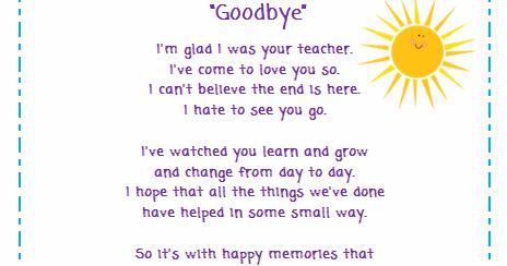 Classroom Freebies Too: Goodbye Poem for Students