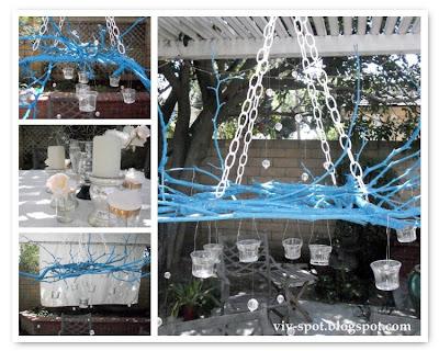 painted, twig chandelier,stick chandelier, blue twig