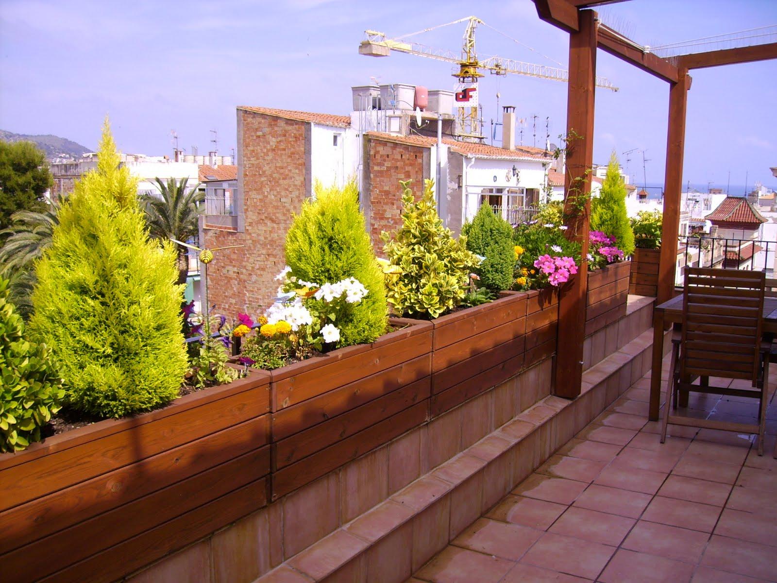 jardineras de madera de pino a medida para terrazas