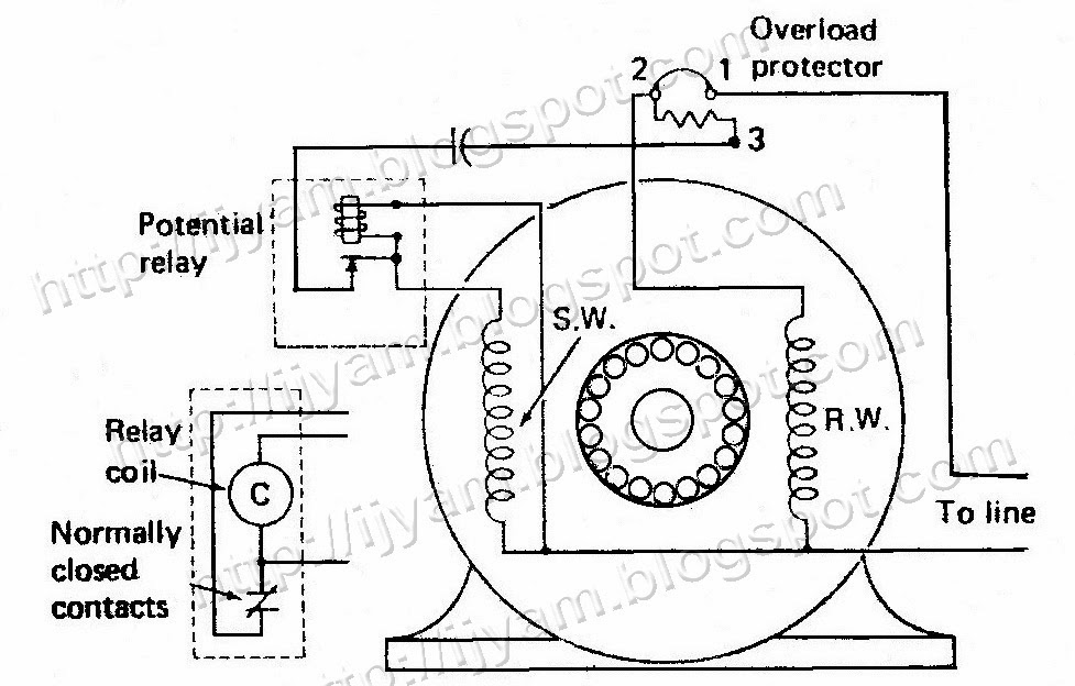 electrical control circuit schematic diagram of capacitor start capacitor start motor connected to potential relay and 3 terminal overload protector