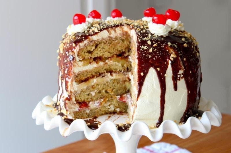 banana split cake recipe from Gold Medal Flour