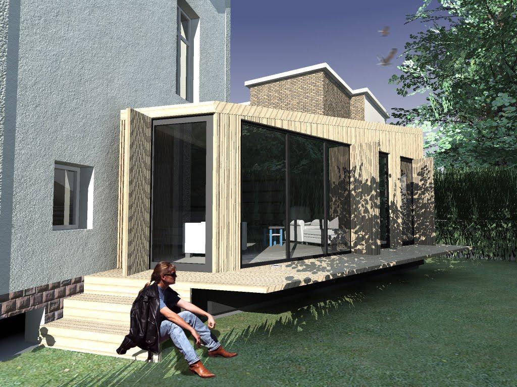 Modern architecture group extension bois hauts de seine for Extension bois maison