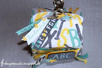 Stampin Up #TGIFC15 Layered Letters school starts Einschulung Leckereien Box Stempelmusik