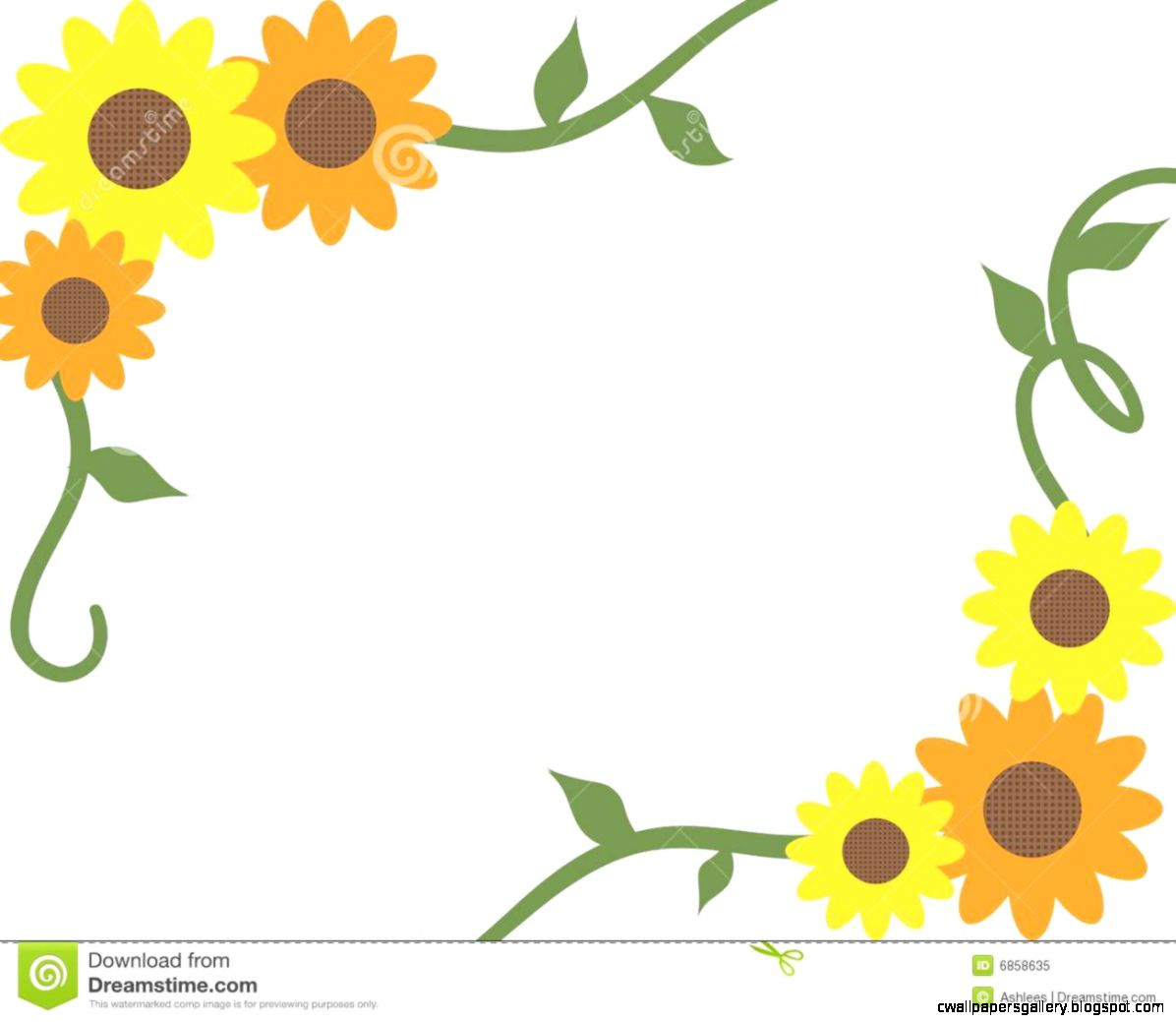 Orange And Yellow Sunflower And Vine Border   Clipart Kid