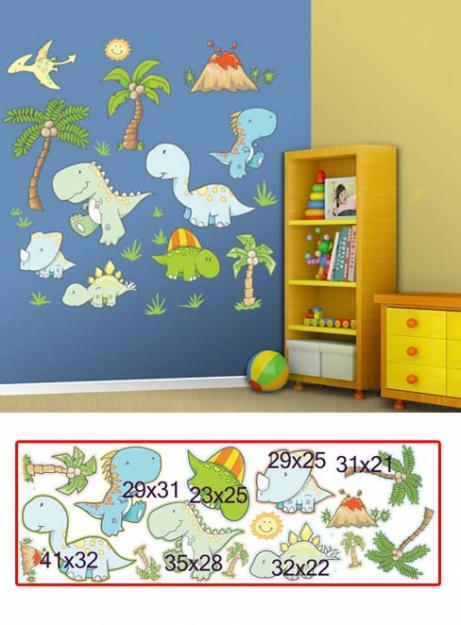 Pegatinas infantiles pegatinas dinosaurios 2 for Stickers pared ninos