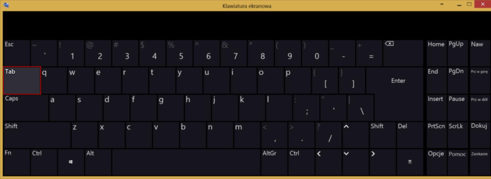 Położenie klawisza tabulator na klawiaturze