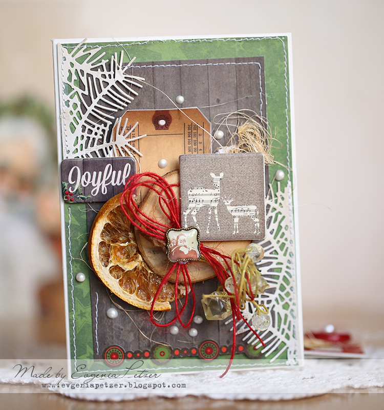Joyful card by Evgenia Petzer using Bo Bunny Christmas Collage