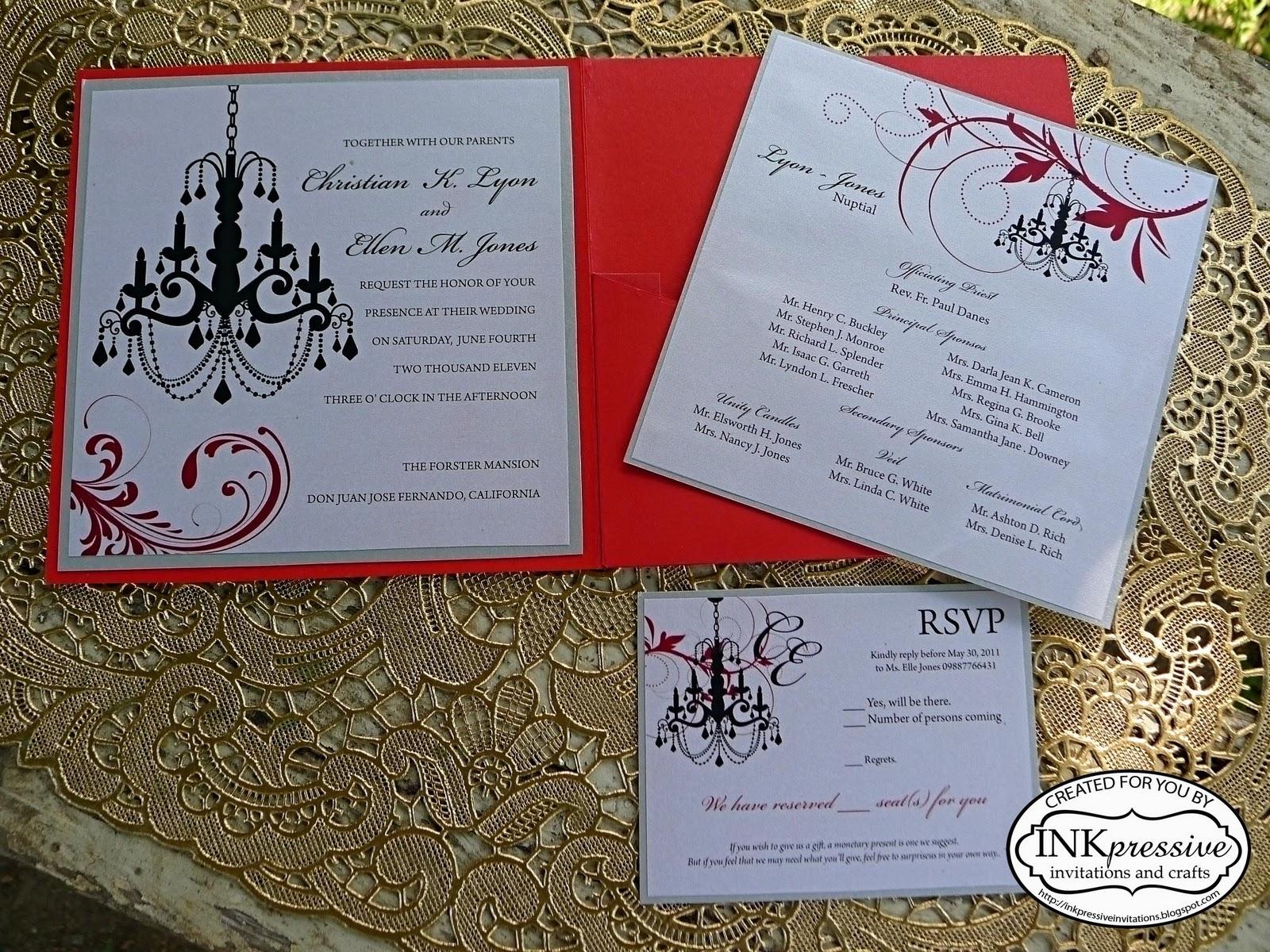 Chandelier Wedding Invitation | INKPRESSIVE INVITATIONS
