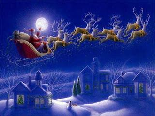Magic Santa Claus over the moon
