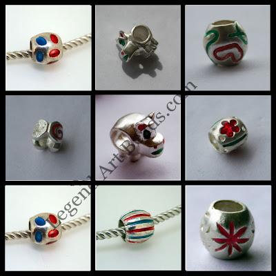 Silver Enamel Beads