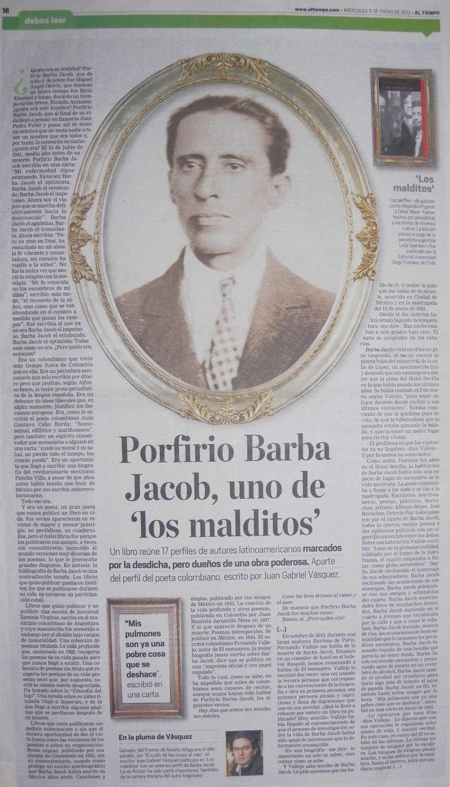 porfirio barba jacob bio Porfiria translation in  an inherited metabolic disorder that involves certain enzymes in the heme bio-synthetic pathway  porfirio barba-jacob porfirio barba-jacob.