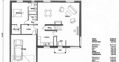 Design plan d une maison avec cotation poitiers 1222 for Plan maison avec cotation