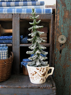 early transferware toy cup with tree
