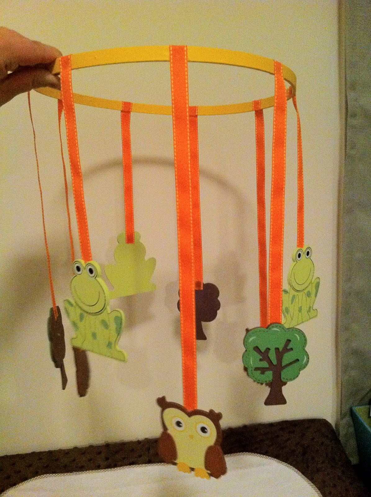 Adventures in crafting cooking and couponing diy baby for Homemade crib mobile