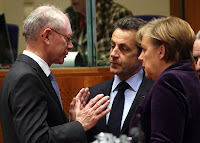 European Council President Herman Van Rompuy (left) is tipped to head the European economic government proposed on Tuesday by French President Nicolas Sarkozy (C) and German Chancellor Angela Merkel.