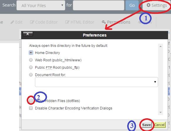 Cách hiển thị file htacess trong cpanel