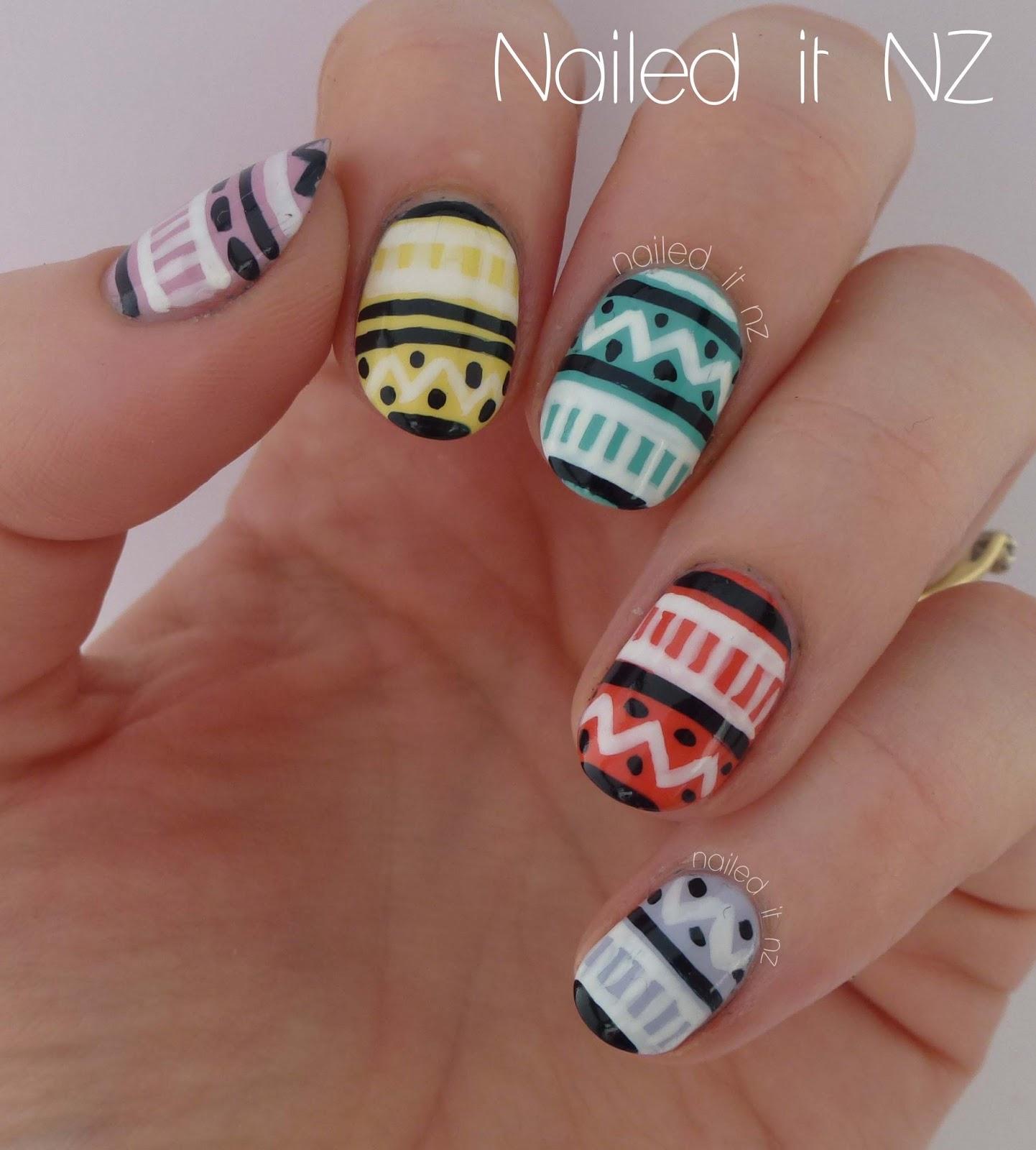Colourful Pastel Tribal Nail Art