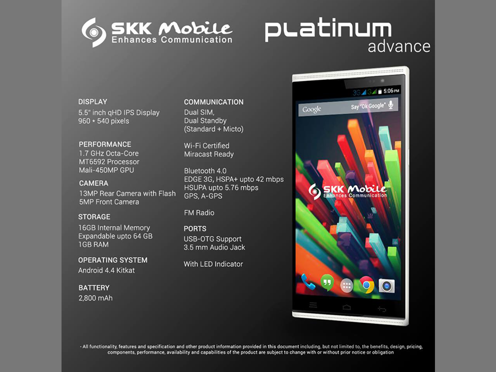 SKK Unveils Platinum Advance: 5-inch Octacore Phablet Priced At Php 8,999