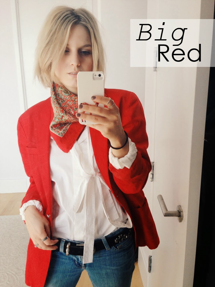 Fashion Over Reason selfie, OOTD, Ralph Lauren red linen oversized boyfriend blazer, vintage Liberty of London scarf, Chic Peek ring, Valentino crisp white shirt, big red