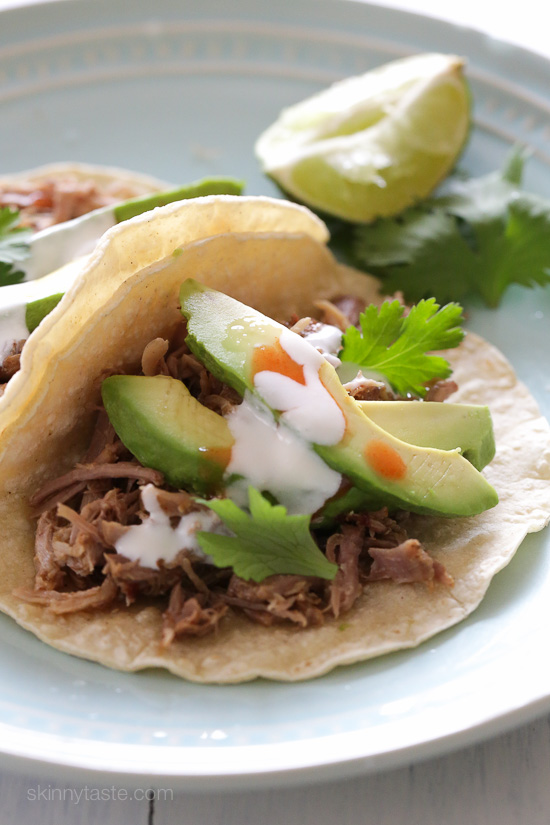 Slow Cooker Pork Carnitas (Mexican Pulled Pork) – delicious pork you can use to make tacos, burrito bowls or serve this over salad!
