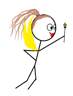 Stick figure fairy with wand held in air