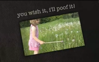 you wish it, I'll poof it, a little girl whacking the dandelions