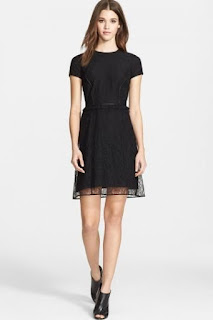 Burberry Prorsum Chantilly Lace Dress with Leather Trim