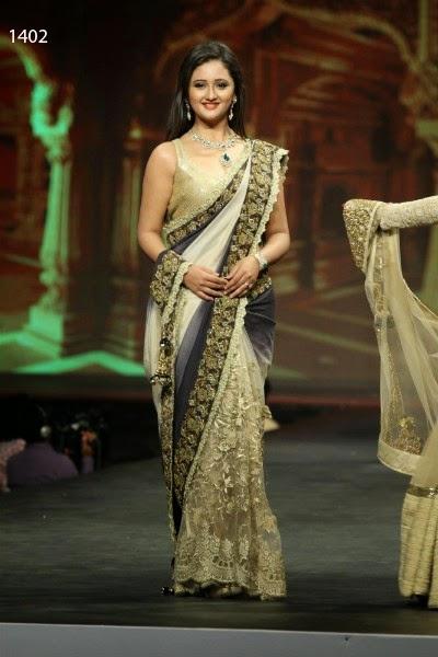 Bollywood Designer Rashmi Desai Blue and White Saree