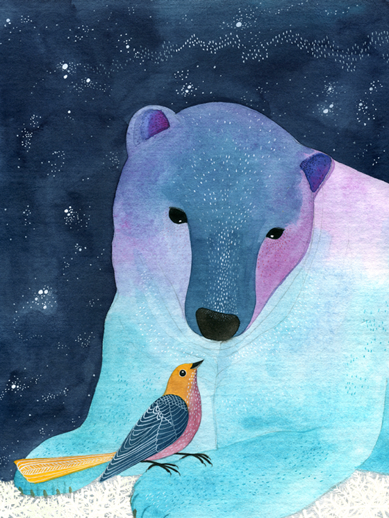 geninne d. zlatkis, art, illustration, birds, flowers, bear, blue, watercolor