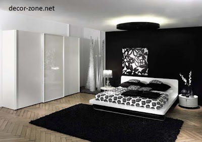 Japanese bedroom design ideas, black and white bedroom Japanese style