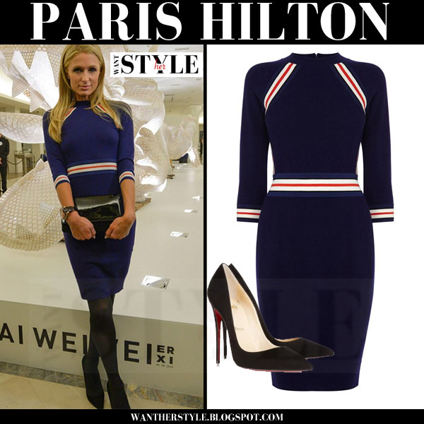 Paris Hilton in blue striped karen millen mini dress and black christian louboutin so kate pumps what she wore