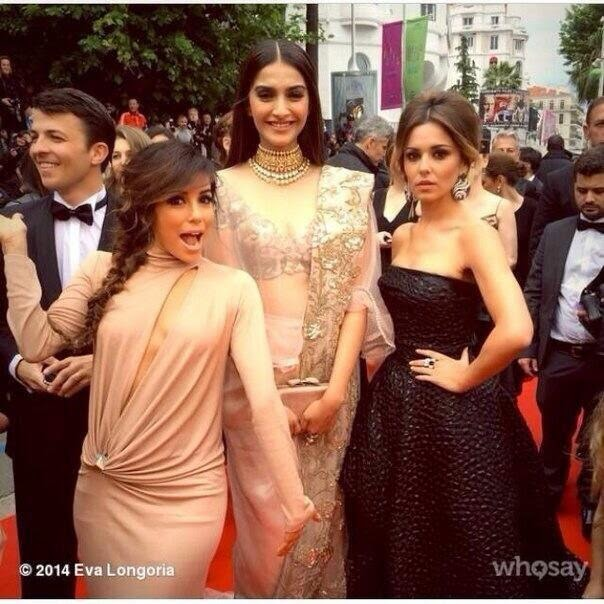 Sonam Kapoor with Eva Longoria and Cheryl Cole at Day 2 of Cannes! Film Festival
