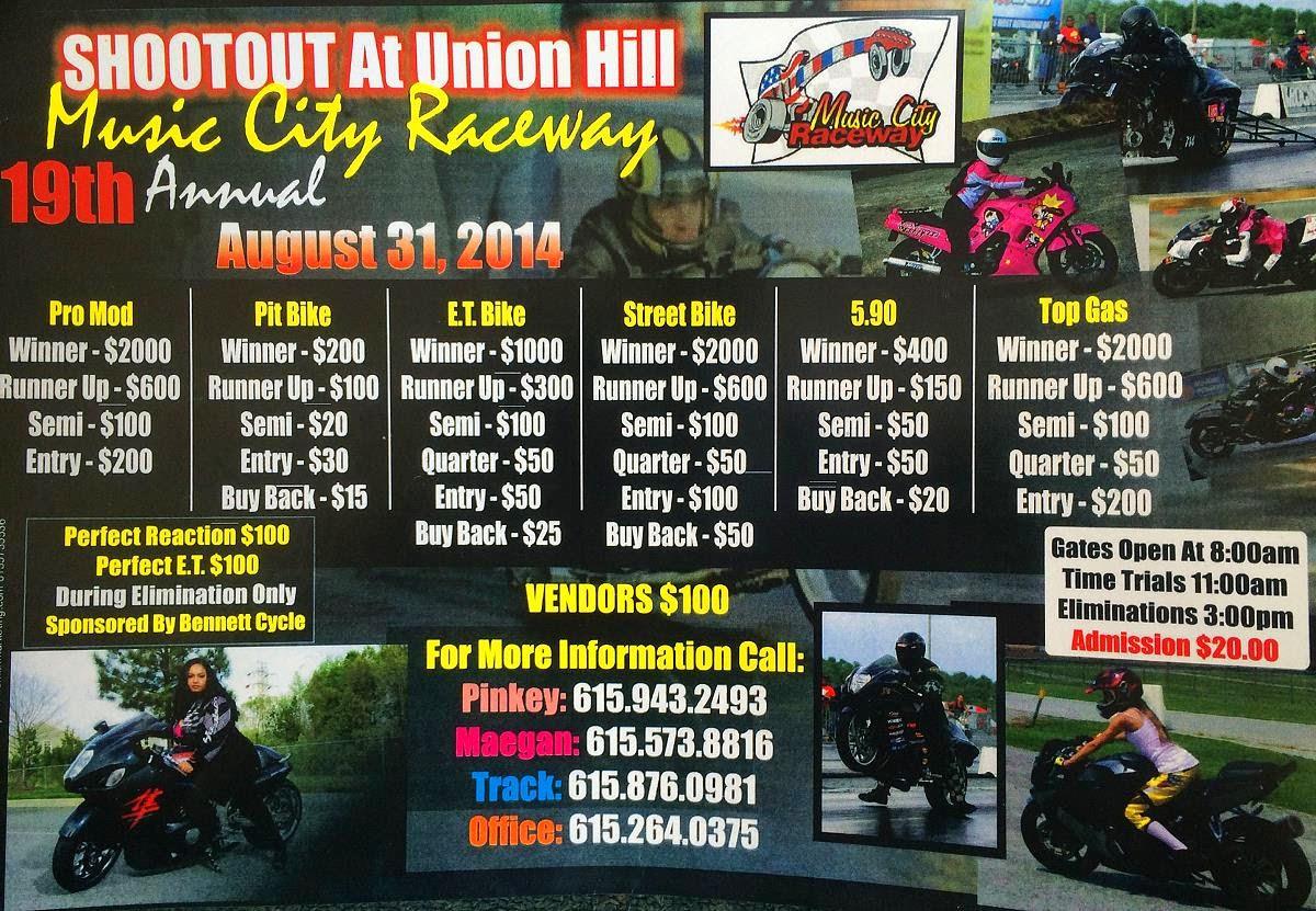 Music City Raceway Setup: Pinky's 18th Annual All Bike Shootout