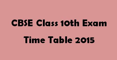 CBSE Timetable 2015 Class 10