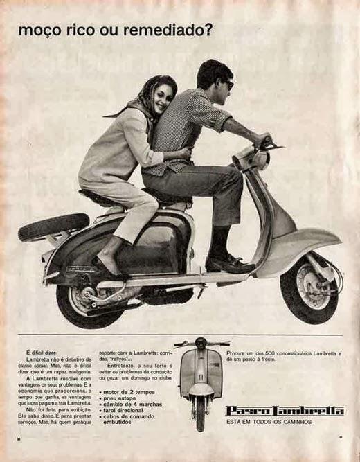 Propaganda da Lambretta nos anos 50. Foco para os jovens.