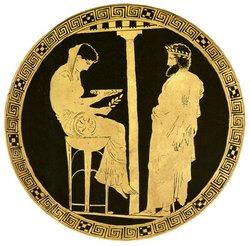 Consulta a la Pitonisa del Templo de Apolo en Delfos. Pintura sobre cerámica