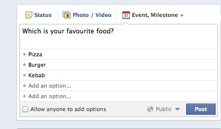 Facebook as questions polling version
