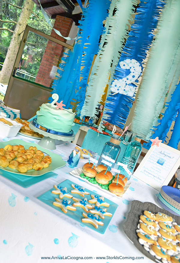 underwater themed sweets table