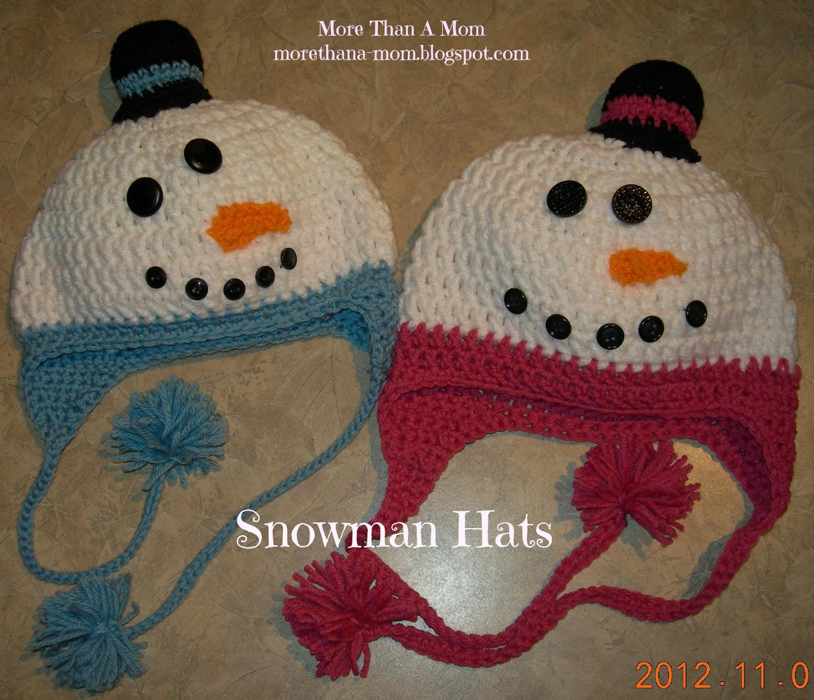 More Than A Mom: Crochet Snowman Hats