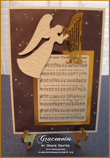 Angel and gold harp card front