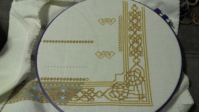 """Celtic Wedding Prayer"" - gold stitches in second corner"
